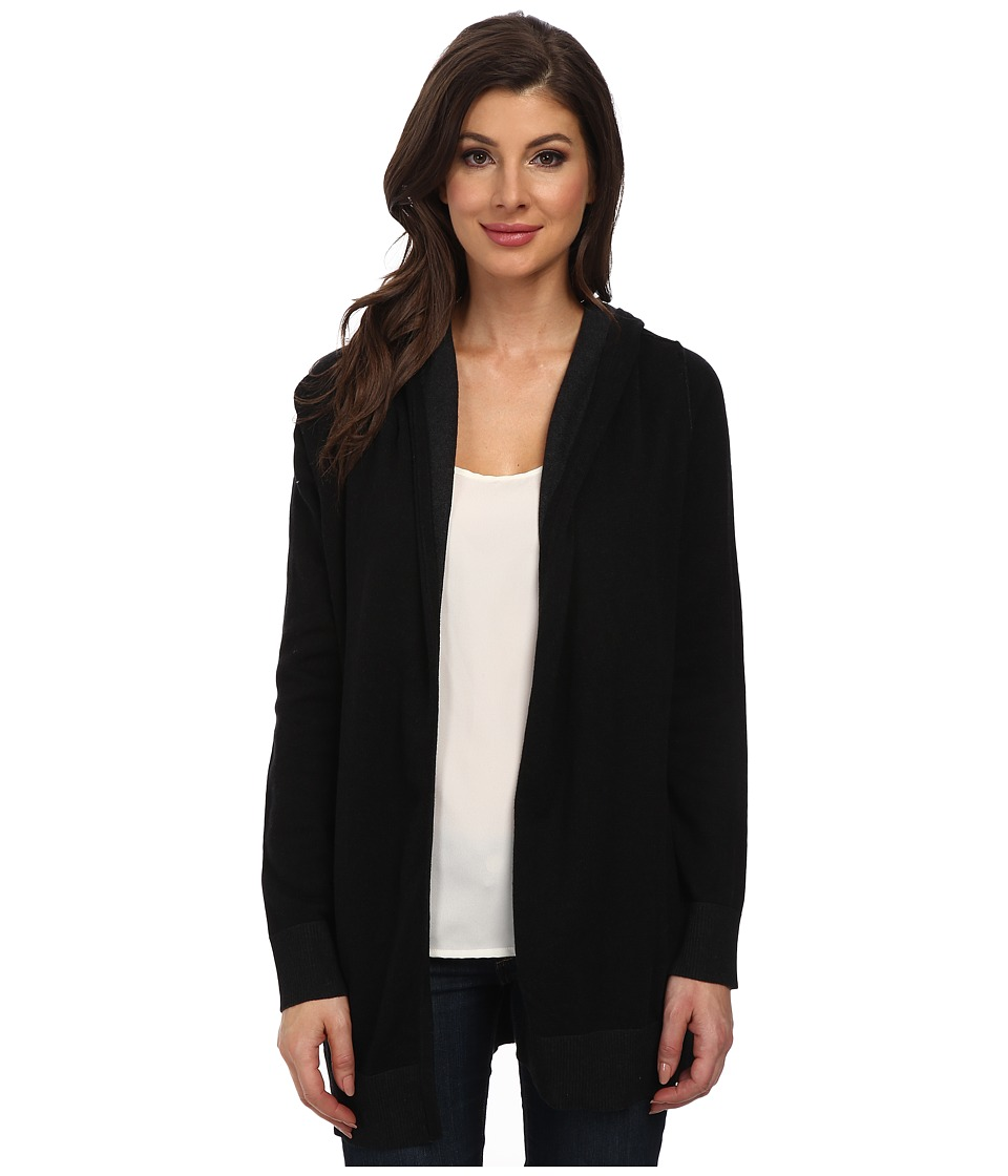 NYDJ - Hooded Cardigan (Black/Dark Heather Grey) Women's Sweater