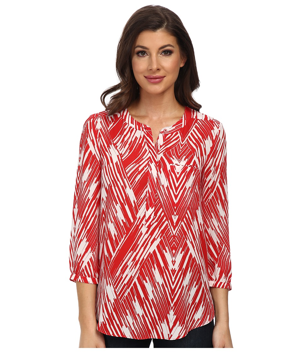NYDJ - Wood Block Chevron Print (Vivid Red) Women