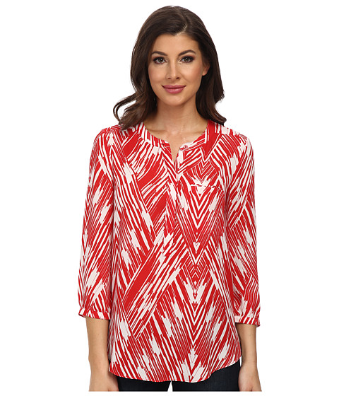 NYDJ - Wood Block Chevron Print (Vivid Red) Women's Blouse