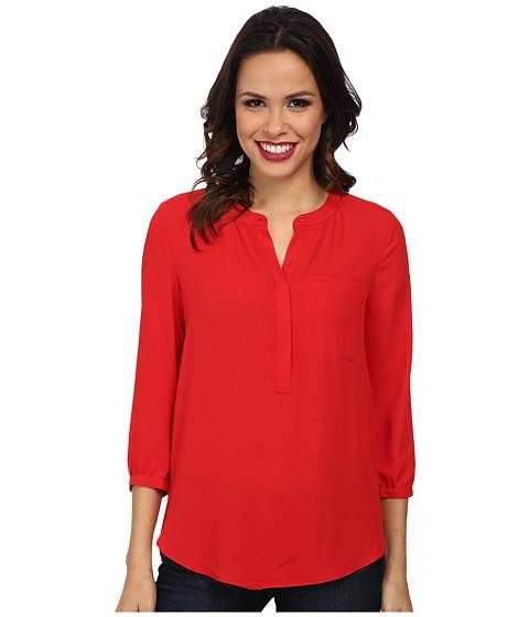 NYDJ - Solid 3/4 Sleeve Pleat Back (Vivid Red) Women
