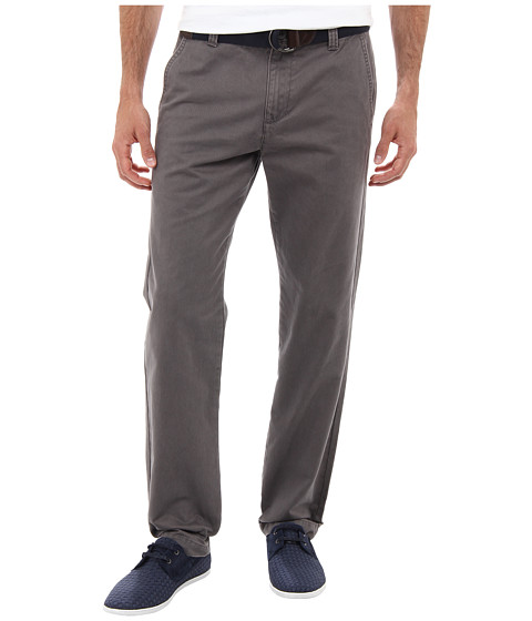 U.S. POLO ASSN. - Slim Fit Peached Twill Clean Front Pant w/ Belt (Flint Grey) Men