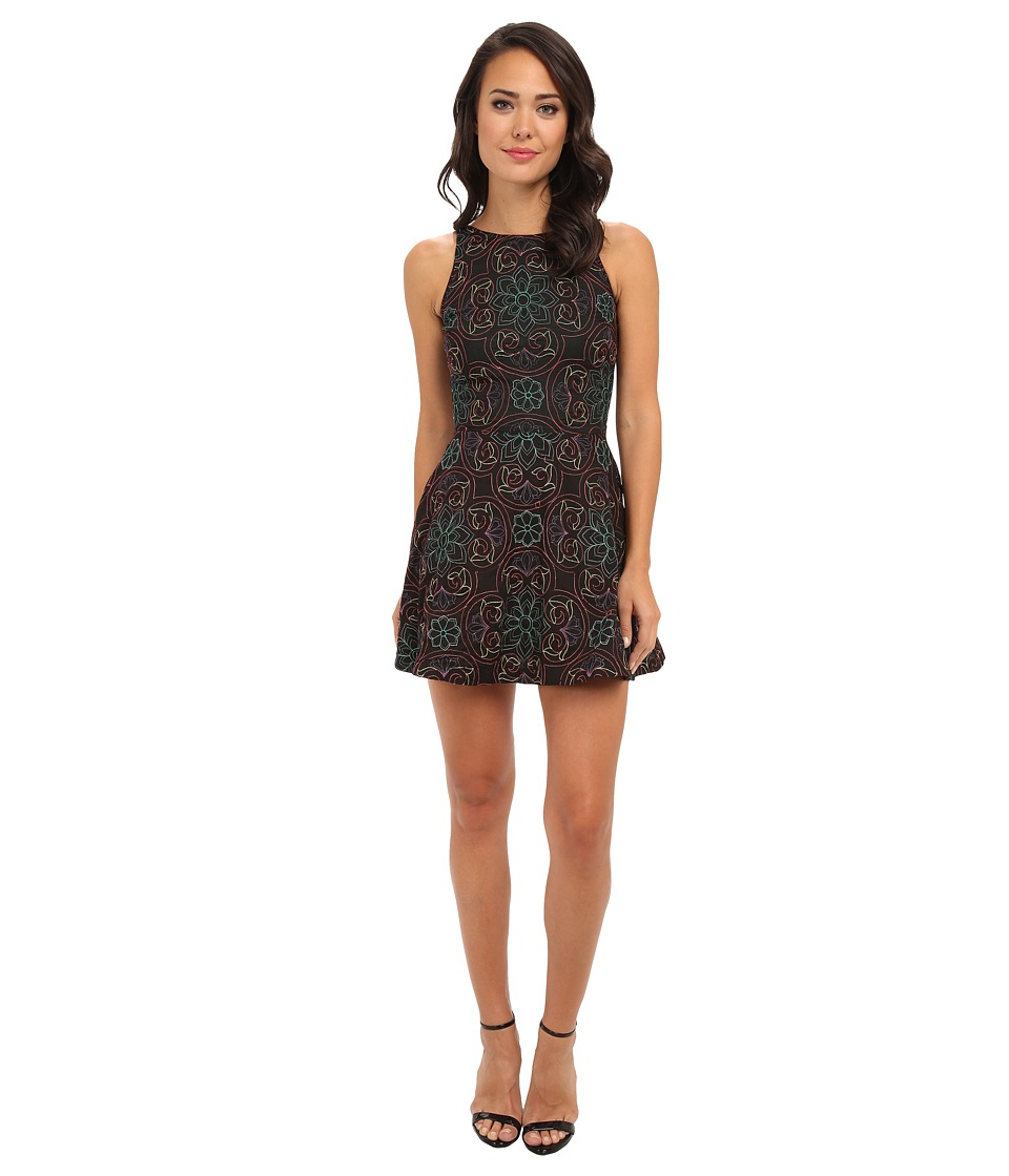 KAS New York Kalina Embroidered Fit N Flare Dress (Black) Women