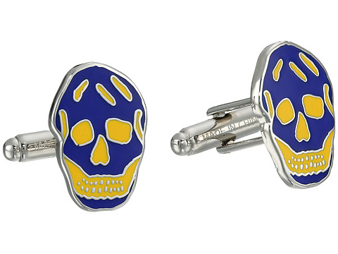 Alexander McQueen - Skull Cufflinks (Navy/Bright Yellow) Cuff Links