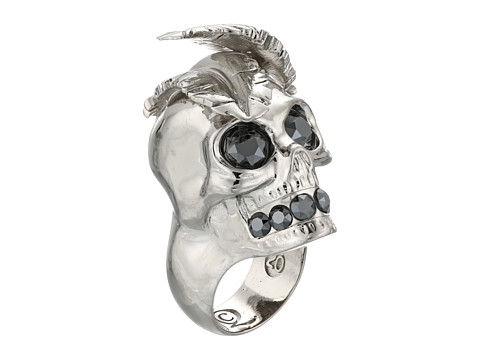 Alexander McQueen - Feather Skull Ring (Jet Hematite) Ring