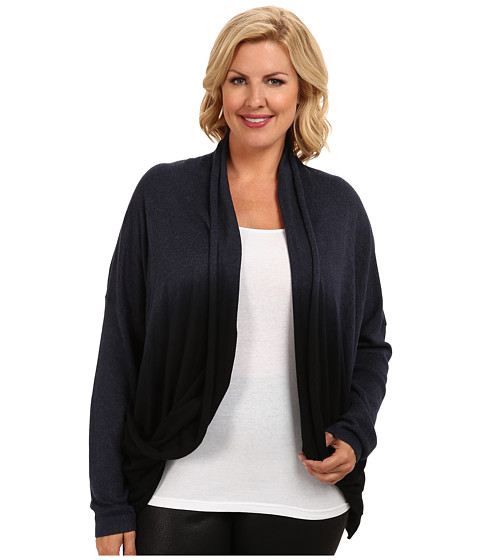DKNY Jeans - Plus Size Dip Dye Two-Pocket Cardigan (Medium Indigo Heather) Women