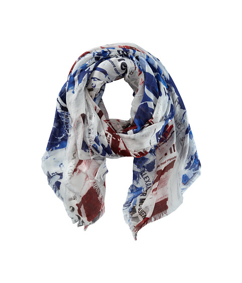 Alexander McQueen - Torn Union Jack Scarf (Navy/Red) Scarves