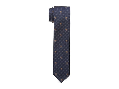 Alexander McQueen - Skull Polka Dots Tie (Midnight Blue/Brown) Ties