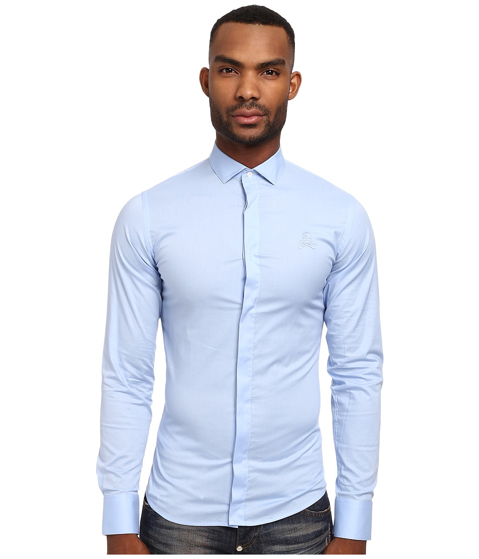 Philipp Plein - Circle Button Up (Light Blue) Men's Long Sleeve Button Up