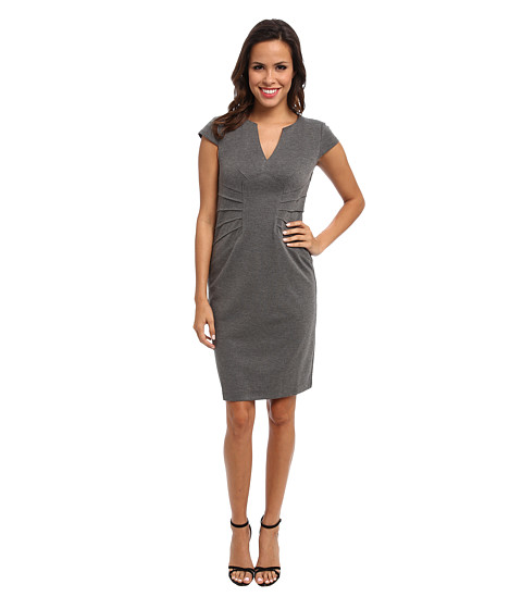 London Times - Short Sleeve Pintuck Waist Sheath (Grey) Women