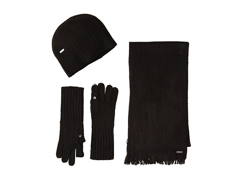 Calvin Klein - 3 Piece Belly Band Set-Hat, Scarf, Flip Tip Glove (Black) Scarves