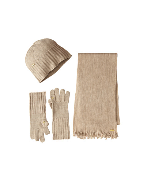 Calvin Klein - 3 Piece Belly Band Set-Hat, Scarf, Flip Tip Glove (Heathered Almond) Scarves