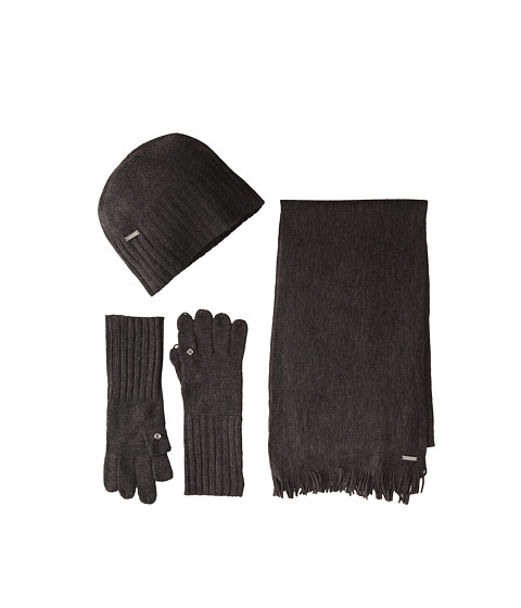 Calvin Klein - 3 Piece Belly Band Set-Hat, Scarf, Flip Tip Glove (Charcoal) Scarves
