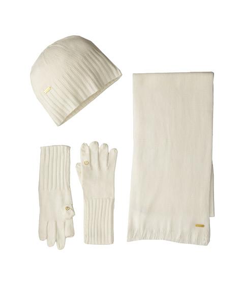Calvin Klein - 3 Piece Belly Band Set-Hat, Scarf, Flip Tip Glove (Cr me) Scarves