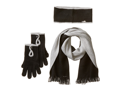 Calvin Klein - Two-Tone Scarf/Headband/Glove Set (3 Piece) (Black/Heather Mid Gray) Scarves
