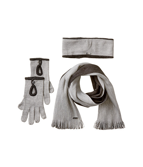 Calvin Klein - Two-Tone Scarf/Headband/Glove Set (3 Piece) (Heathered Mid Gray/Coal) Scarves