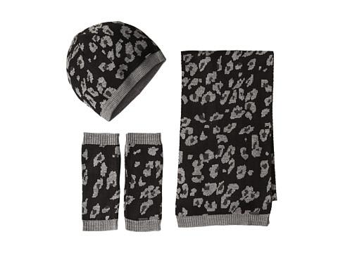 Calvin Klein - 3 Piece Leopard Set-Hat, Scarf, Armwarmer (Black) Scarves