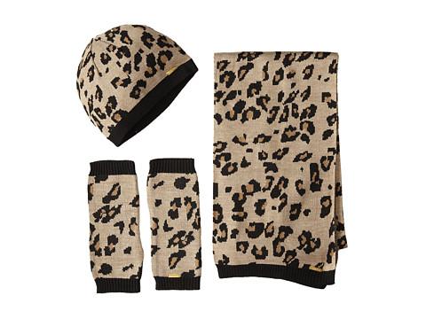 Calvin Klein - 3 Piece Leopard Set-Hat, Scarf, Armwarmer (Almond) Scarves