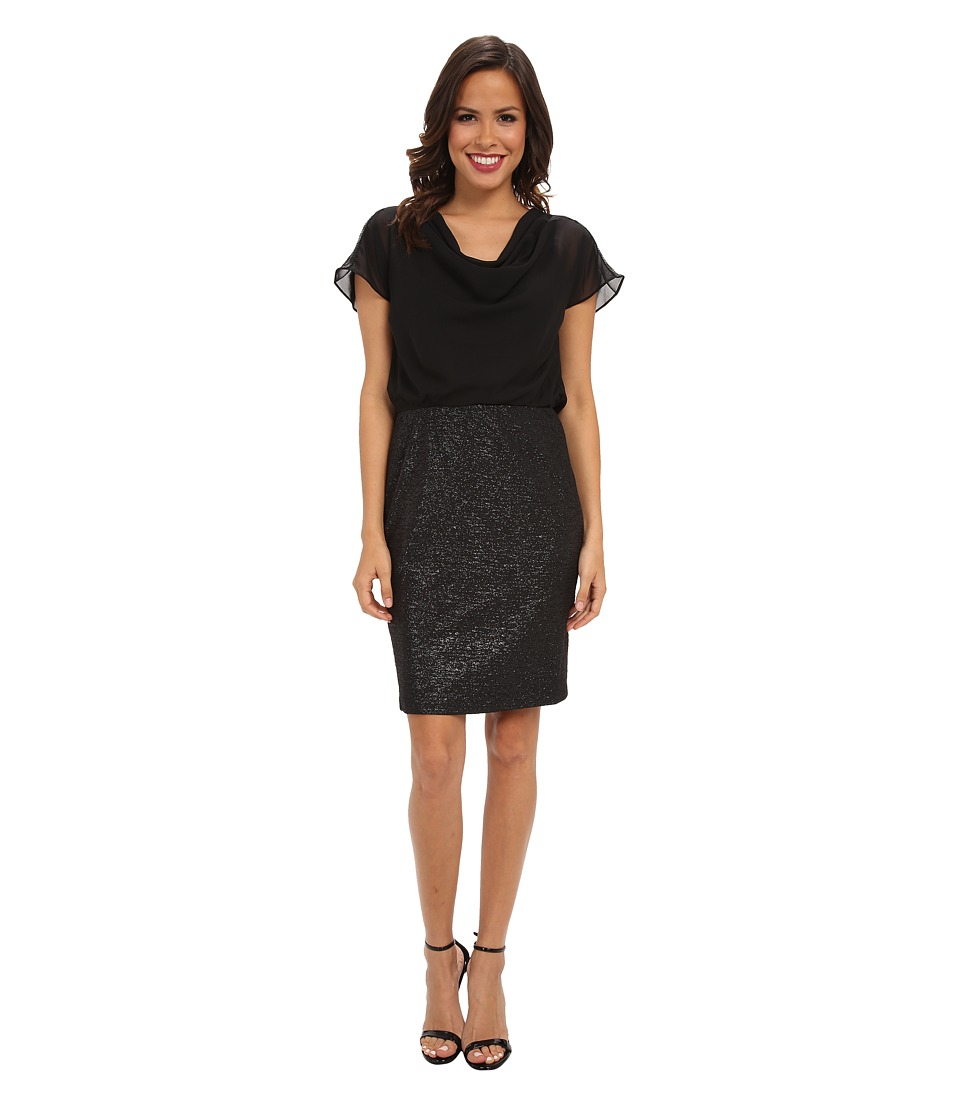 London Times Cowl Neck Blouson Texture Skirt (Black) Women