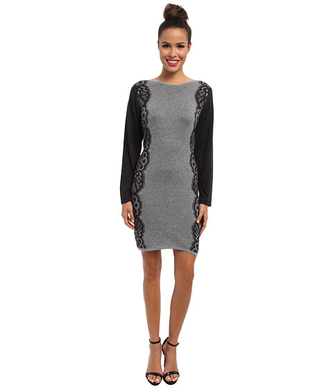 London Times - Long Sleeve Placed Jaquard Sheath (Grey/Charcoal) Women's Dress