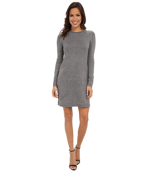 London Times - Long Sleeve Texture Stripe Sheath (Grey) Women