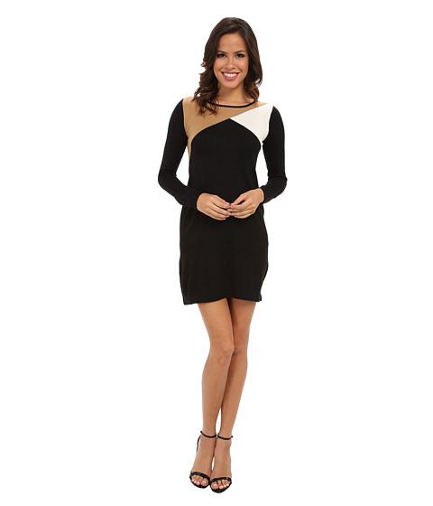 London Times - Long Sleeve Color Block Sweater Dress (Black Camel) Women