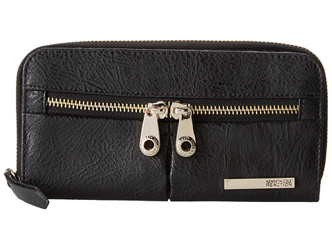 Kenneth Cole Reaction - Wooster Street Zip Around with Front Panel (Black) Checkbook Wallet