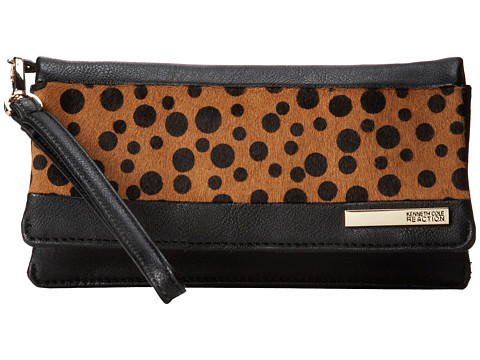 Kenneth Cole Reaction - Wooster Street Double Gusset Flap Clutch (Black with Polka Dot) Clutch Handbags