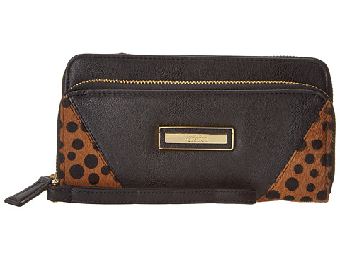 Kenneth Cole Reaction - Zip Code Double Zip Around (Black with Polka Dot) Clutch Handbags