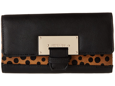 Kenneth Cole Reaction - Metal Head Flap Clutch with Inside Zip (Black with Polka Dot) Clutch Handbags