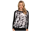 DKNY Jeans Black and White Printed Mix Media Sweatshirt (Noir)