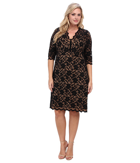 Karen Kane Plus - Plus Size Scallop Lace Dress (Black/Nude) Women's Dress