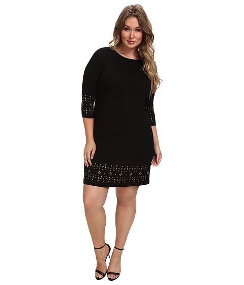 Karen Kane Plus - Plus Size Gold Sun Gold Stud Embellished Dress (Black) Women