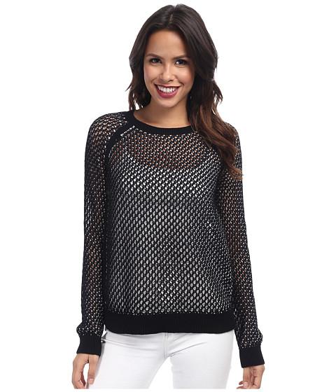 NYDJ - Mesh Stitch Sweater (Optic White/Black) Women's Sweater