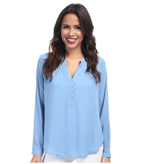 NYDJ - Quilted Yoke Blouse (Montego Blue) Women