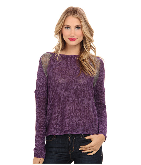 DKNY Jeans - Yarn Mix Intarsia Pullover (Port Heather) Women's Long Sleeve Pullover