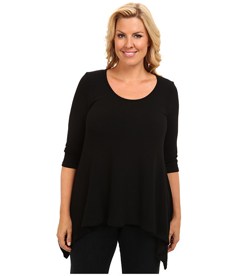 Karen Kane Plus - Plus Size Blue Moon Sweater Knit Handkerchief Top (Black) Women