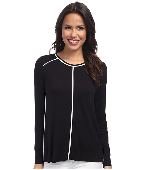 NYDJ - Knit Mix Top (Black/White) Women's Clothing
