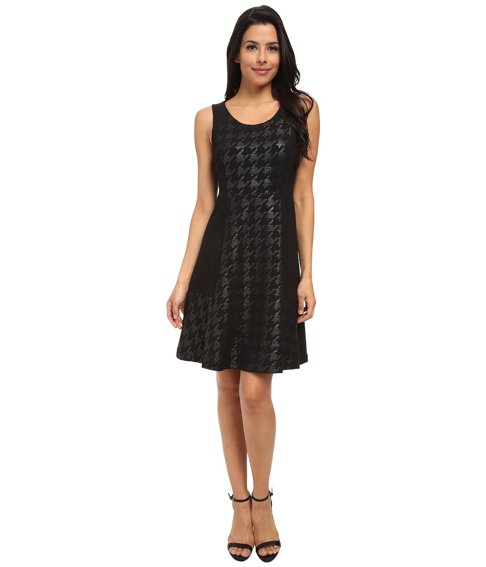 NYDJ - Charlie Coated Houndstooth Dress (Black/Black) Women's Dress