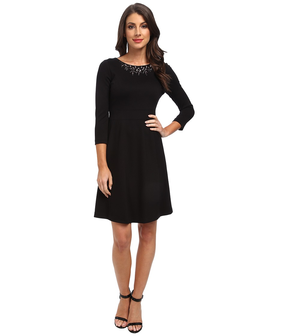 NYDJ - Embellished Neck Long Sleeve (Black) Women's Dress