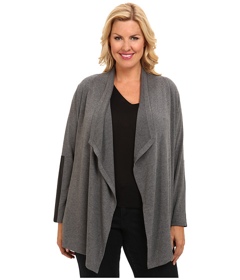 Karen Kane Plus - Plus Size Blue Moon Faux Leather Cuff Cardigan (Heather Gray) Women