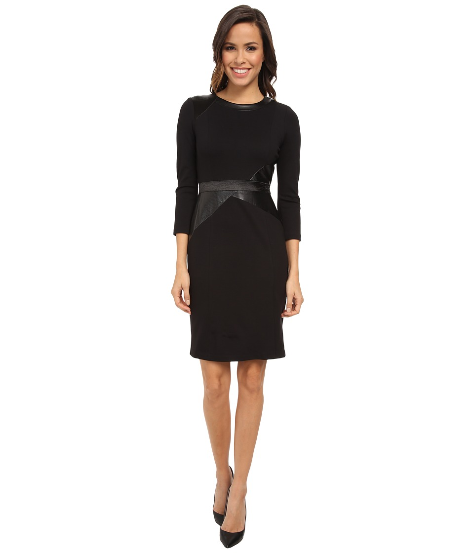 NYDJ - Veronique Mix Media Dress (Black/Black) Women's Dress