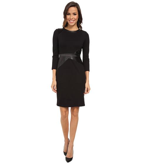NYDJ - Veronique Mix Media Dress (Black/Black) Women's Dress
