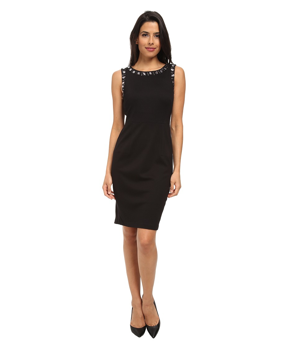 NYDJ - Embellished Sleeveless Ponte Dress (Black) Women's Dress