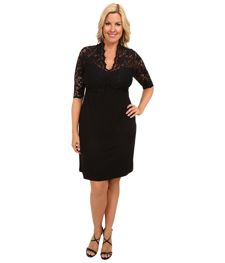 Karen Kane Plus - Plus Size Blue Moon Contrast Scallop Dress (Black) Women's Dress
