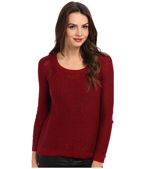 DKNY Jeans - Sequin Pullover Sweater (Ruby) Women