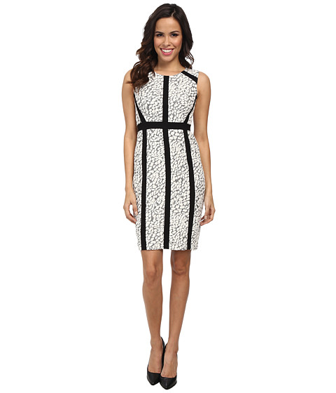 NYDJ - Nora Animal Jacquard Dress (Winter White/Black) Women's Dress