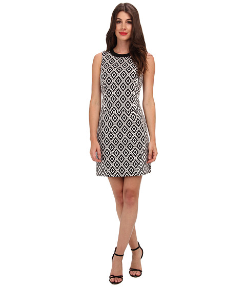 Ali Ro - Sleeveless Geo Jacquard Dress (Black/White) Women's Dress