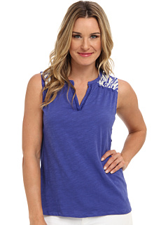 SALE! $15.99 - Save $22 on Caribbean Joe Sleeveless V Neck w Contrast Print Top (Bali Turquoise) Apparel - 57.92% OFF $38.00