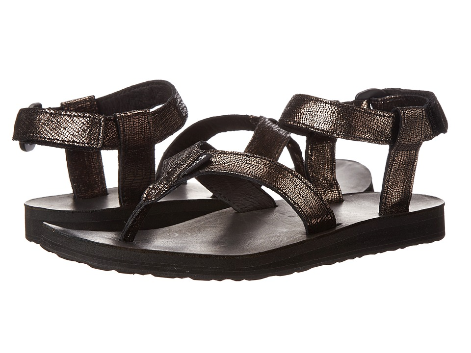 Teva - Original Sandal Leather Metallic (Black) Women's Sandals
