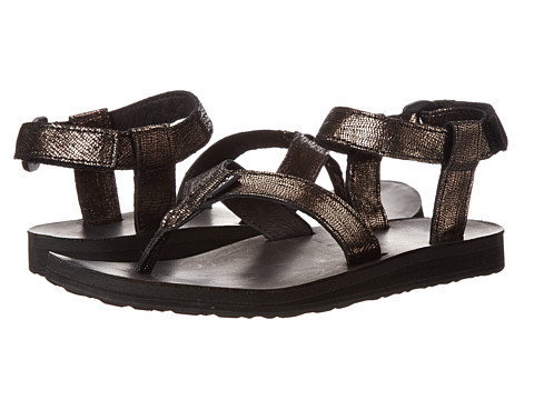 Teva - Original Sandal Leather Metallic (Black) Women